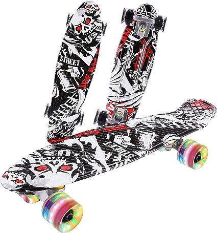Caroma 22In Complete Mini Cruiser Skateboards for Beginners LED Light Up Wheels