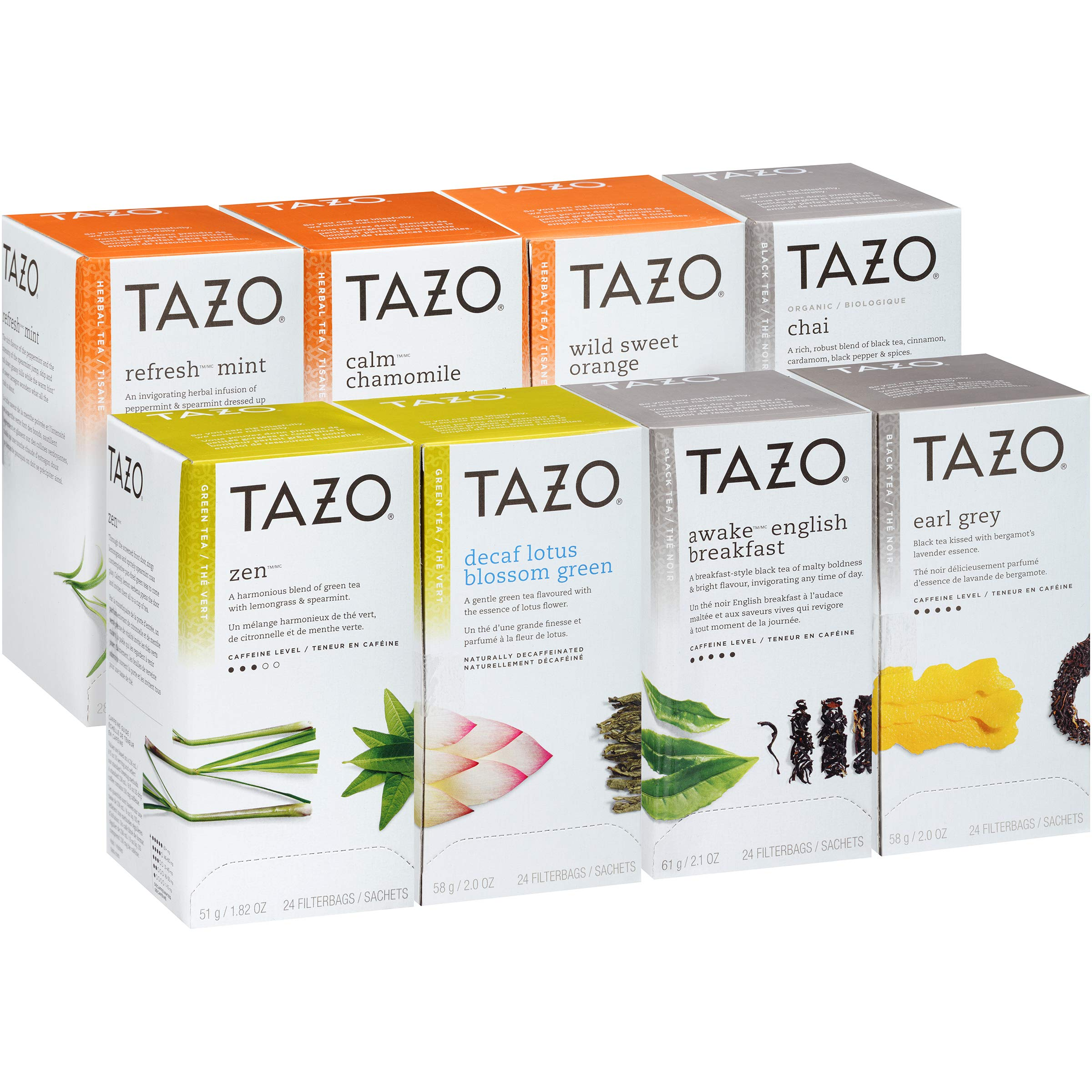 Tazo Black, Green and Herbal Assorted Variety Pack Enveloped Hot Tea Bags Non GMO, 24 count, Pack of 16 by Tazo