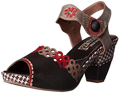 L'Artiste by Spring Step Women's Jive Sandals, Black/Multi- 35 M