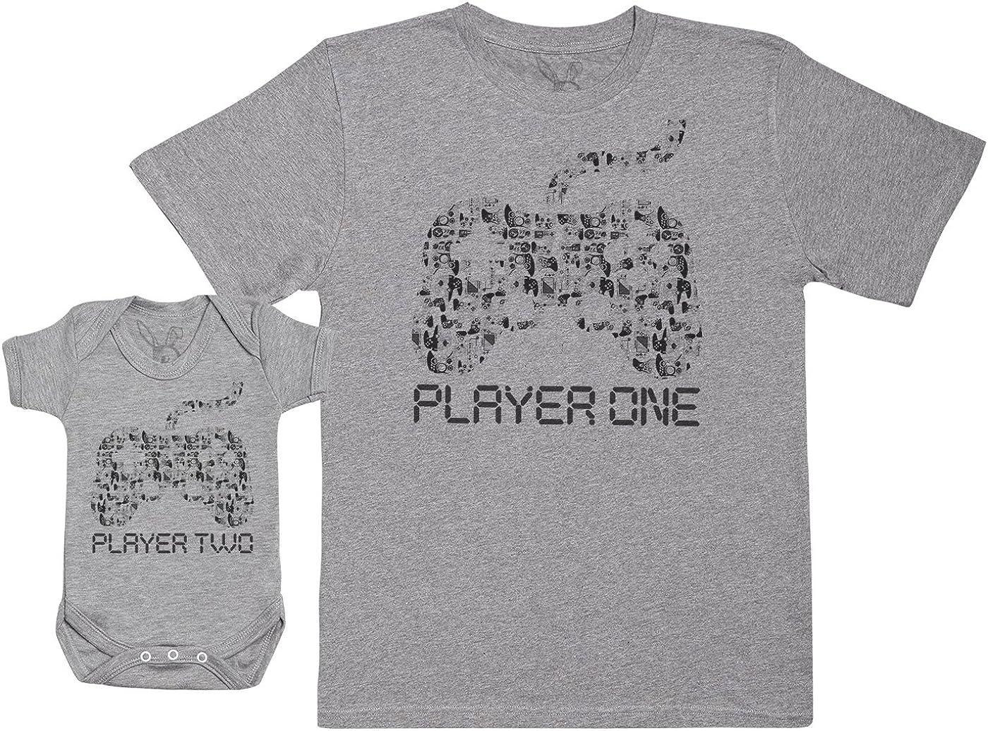 Baby Bunny Player One & Player Two - Regalo para Padres y bebés en un Cuerpo para bebés y una Camiseta de Hombre a Juego