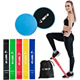 Thirty48 Gliding Discs Core Sliders and 5 Exercise Resistance Bands   Strength, Stability, and Crossfit Training for Home, Gy