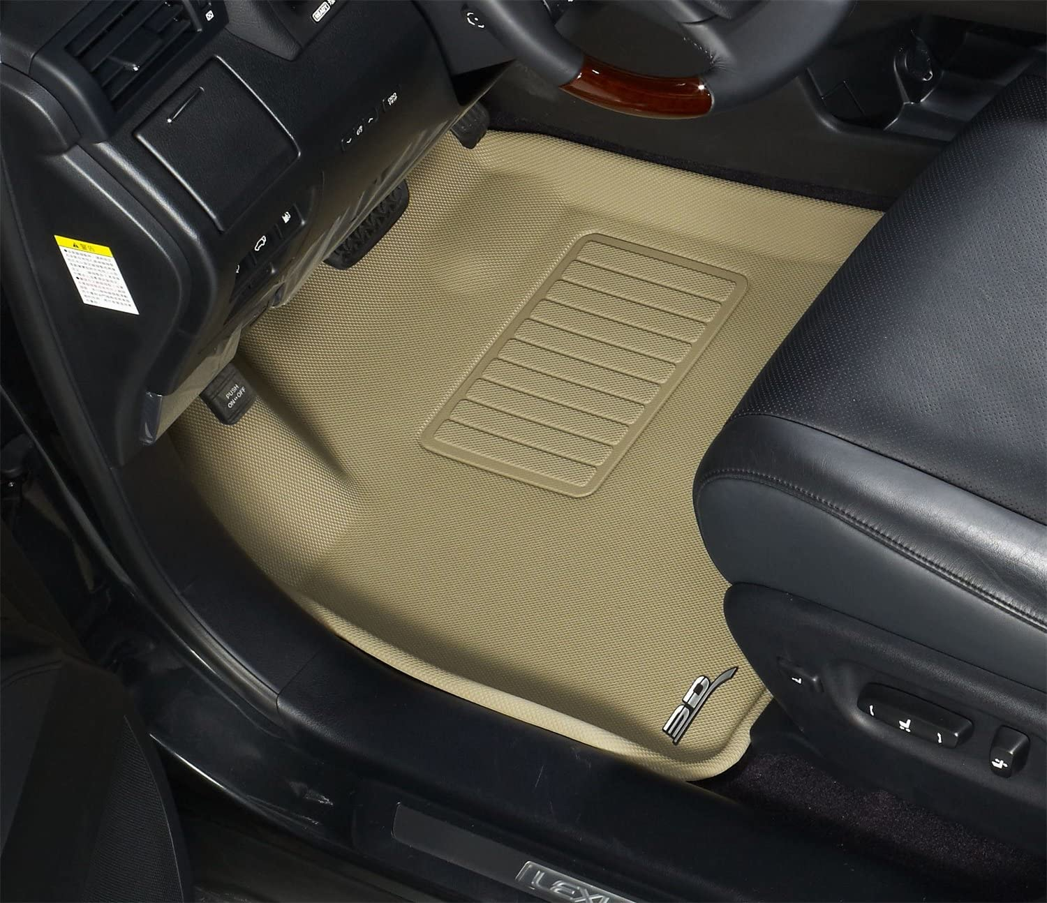 Kagu Rubber 3D MAXpider Second Row Custom Fit All-Weather Floor Mat for Select Chevrolet Impala Models Tan