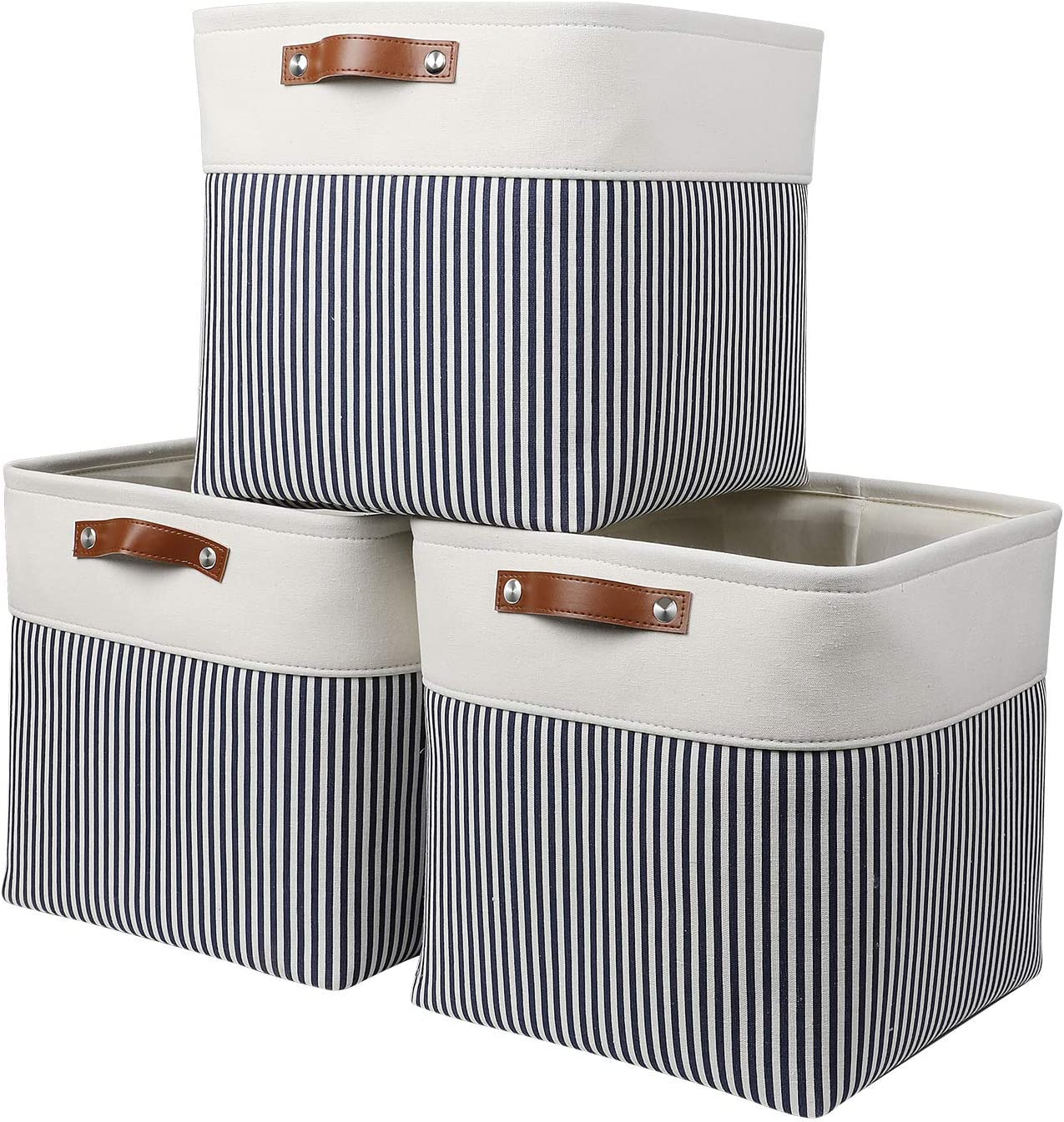 HEWEI Fabric Storage Boxes Cube Canvas Storage Basket for Shelves and cabinets Set of 3