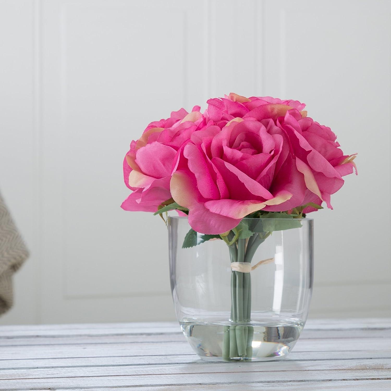 Amazon.com & Pure Garden Rose Floral Arrangement with Glass Vase - Pink