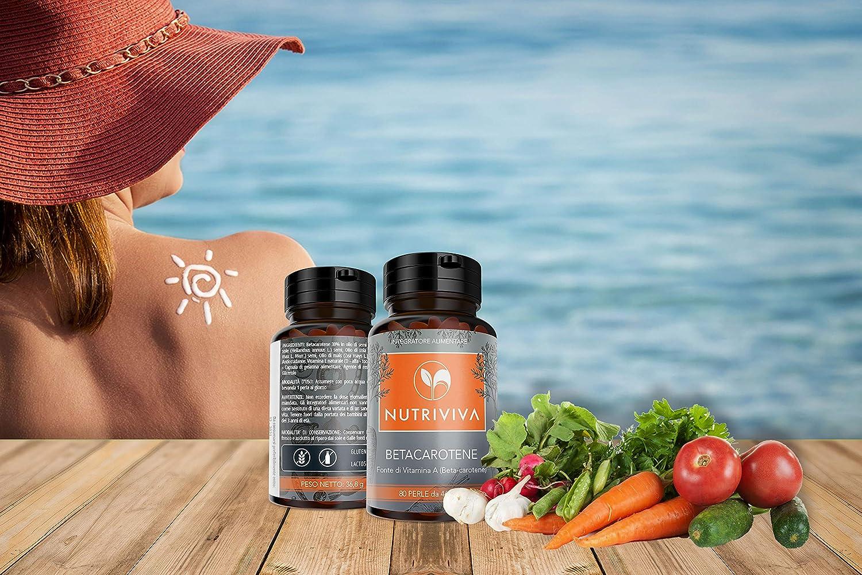 NUTRIVIVA Beta caroteno 80 perlas de 460 mg   Alta disponibilidad de antioxidante proVitamina A   Para un bronceado más intenso y duradero.