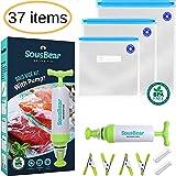 Sous Vide Bags BPA Free 30 Reusable Vacuum Food Storage Bags - 3 Sizes Sous Vide Bag Large Kit for Anova, Joule Cookers