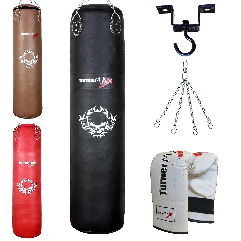 TurnerMAX Sac de frappe de boxe en cuir avec chaîne pivotant, Sac, gants et sac de frappe en métal robuste Crochet pour Plafond support noir Turner Sports