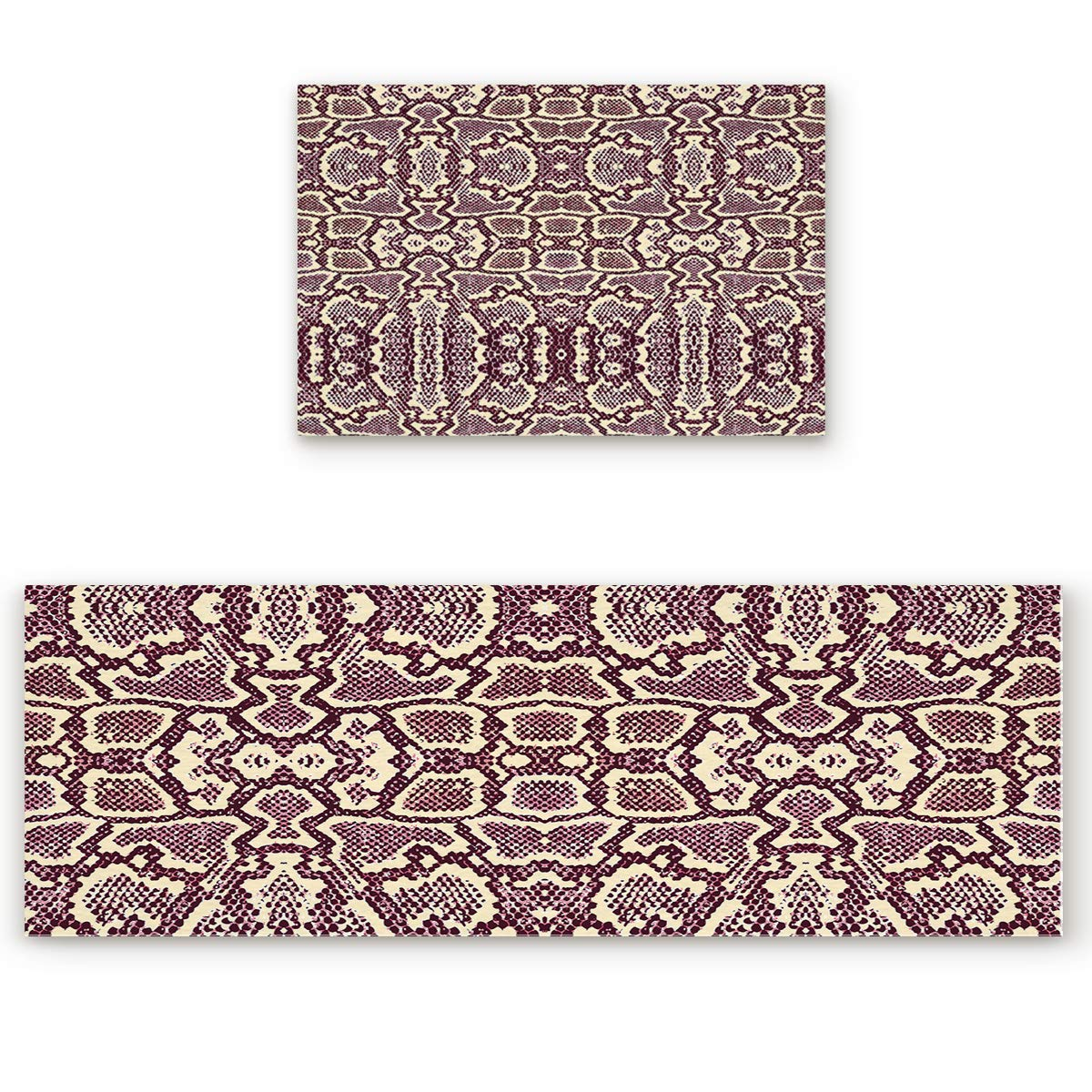 23.6\ SODIKA 2 Pieces Kitchen Rug Set,Non-Skid Slip Washable Doormat Floor Runner Bathroom Area Rug Carpet,Animal Snake Print (23.6x35.4in+23.6x70.9 inches)