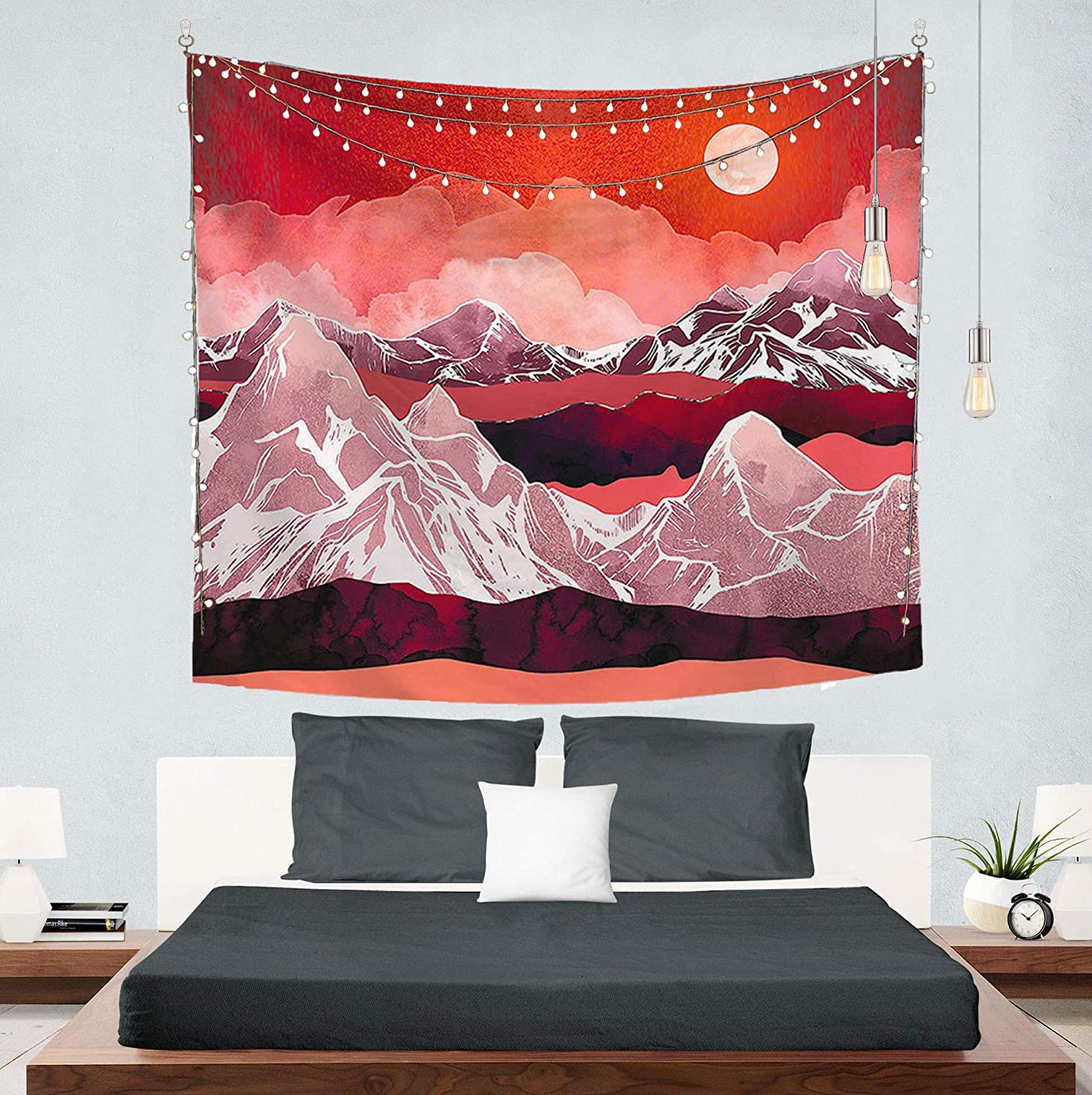 Mountain Tapestry Wall Hanging, Sunset Tapestry Nature Landscape for Living Room (79 x 60 inches)