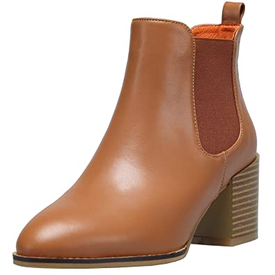 a748cbb7245 Women s Genuine Leather Ankle Boot High Chunky Heel Shoes Comfortable  Elastic Pointed Toe Cowboy Bootie (