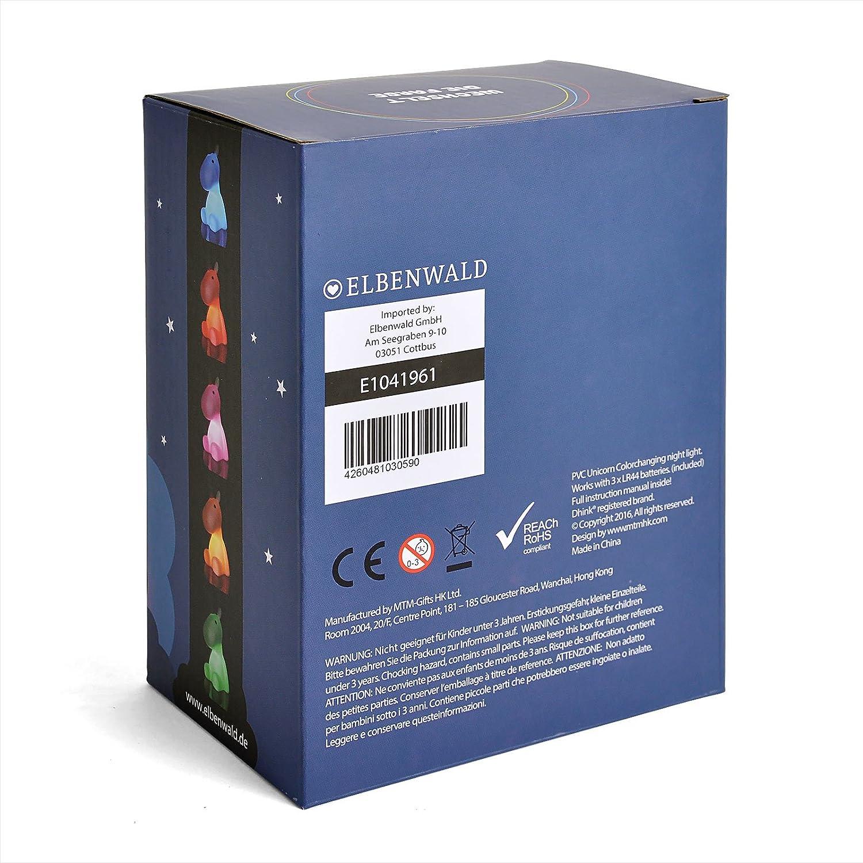 Elbenwald Einhorn Nachtlicht Tischlampe Batteriebetrieb PVC