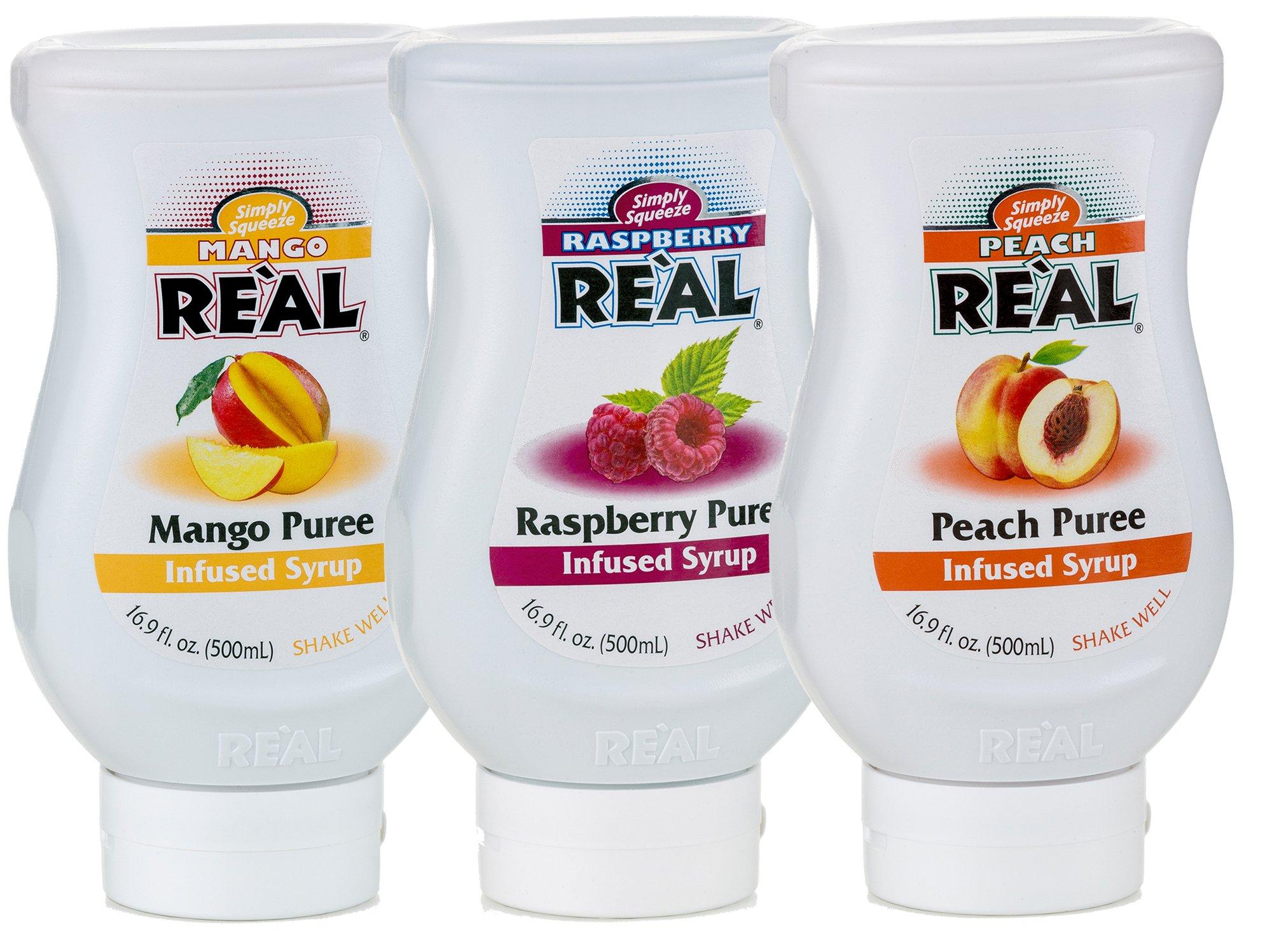 Reàl Fruit Infused Tea Flavoring Syrup - Mango, Peach, Raspberry (Pack of 3, 16.9 FL OZ Bottles)