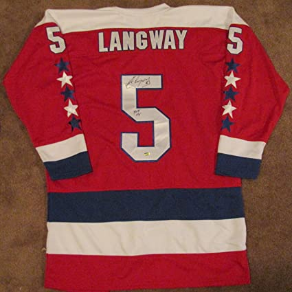 342d05fa8 Image Unavailable. Image not available for. Color  Rod Langway Autographed Red  Custom Jersey - Washington Capitals ...