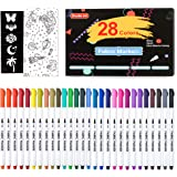 28 Colors Fabric Markers, Shuttle Art Fabric Markers Permanent Markers for T-Shirts Clothes Sneakers Jeans with 11 Stencils 1