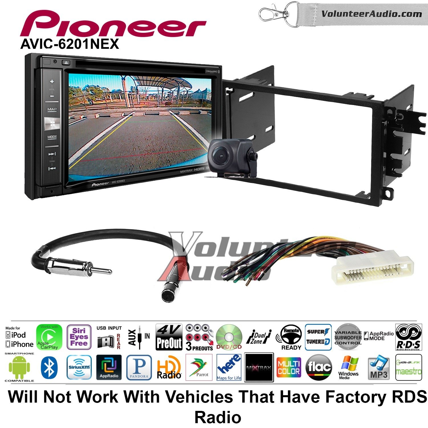 Pioneeer AVIC-6201NEX Double Din Radio Install Kit with GPS Navigation Apple CarPlay Android Auto Fits 2000-2005 Buick LeSabre, 2000-2005 Pontiac Bonneville (Without Bose)