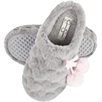 Jessica Simpson Girls Plush Slip-On Clogs - Comfy Memory Foam Slipper House Shoe with Cute Hearts and Pom Poms for Kids