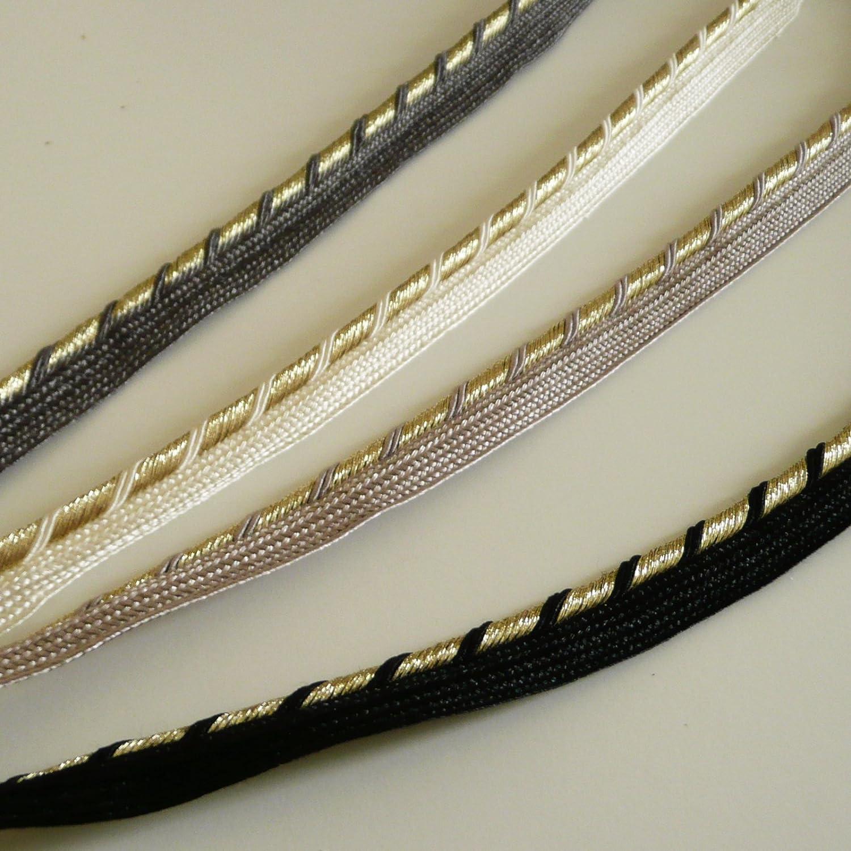 4 mm Corde On Trend Fabrics Twisted Dor/é Lurex Flanged Insert Cordon de Passepoil Bordure/ Ivoire /Vendu au m/ètre /Tresse de Luxe/
