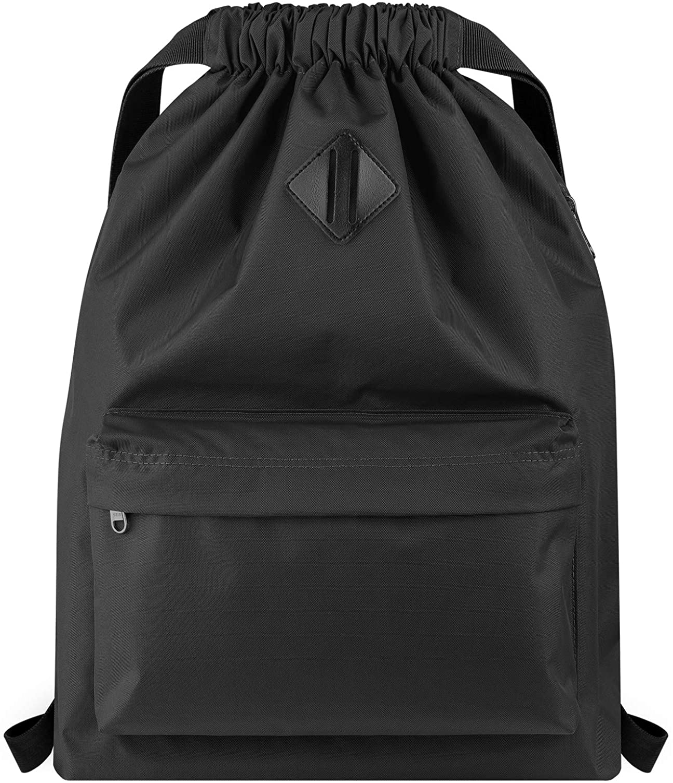 Vorspack Drawstring Backpack Water Resistant String Bag Sports Gym Sack with Side Pocket for Men Women