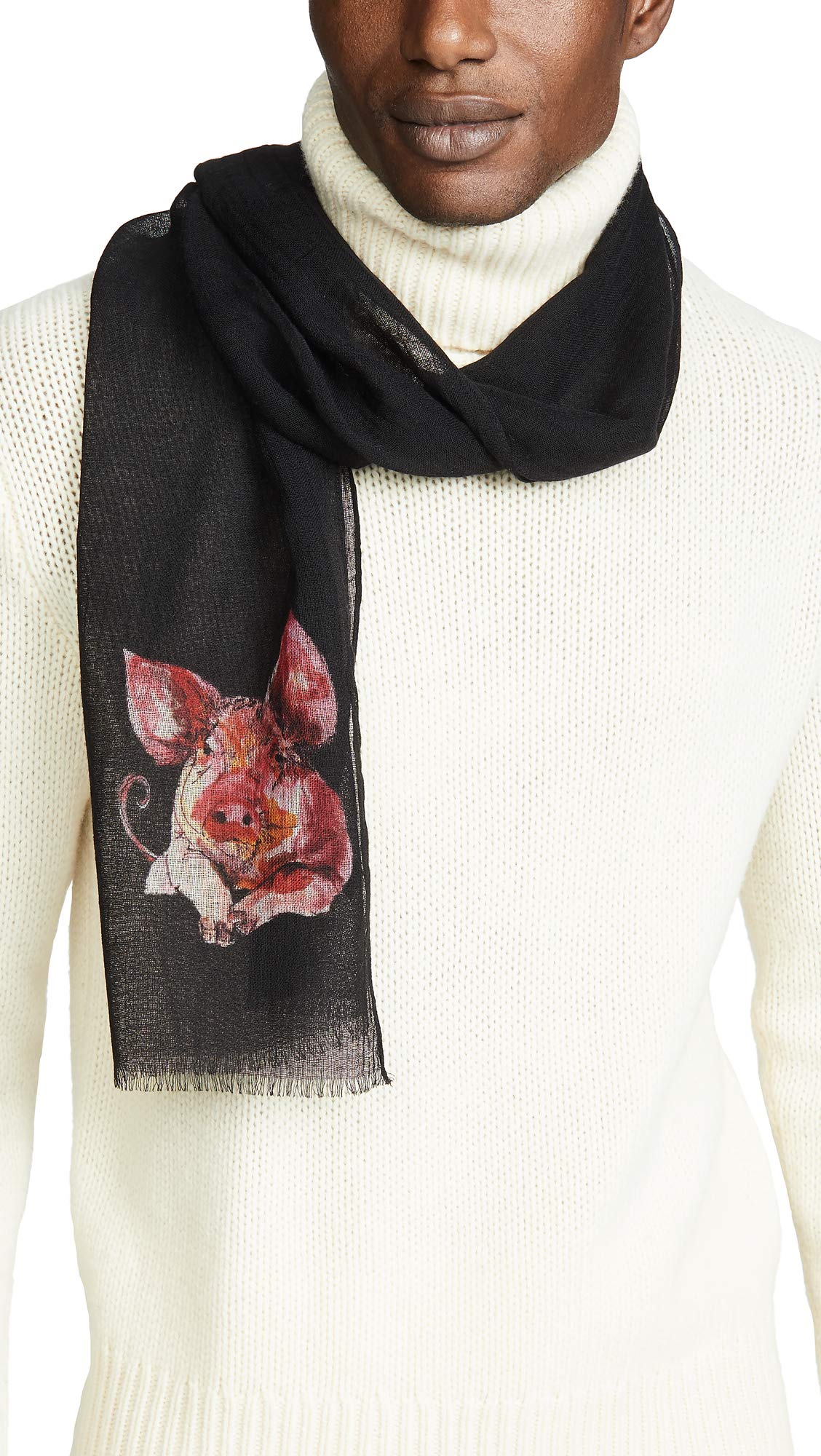 Paul Smith Men's Pig Scarf, Black, One Size by Paul Smith (Image #1)