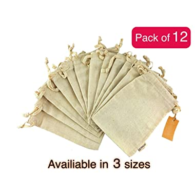 12 Pcs Reusable Produce Bags | Organic Cotton Muslin Produce Storage Bag with Drawstring | Medium 8x10 Inch | Sachet Canvas Bags | Biodegradable Fabric Bags | Sandwich and Snack Bags by Leafico