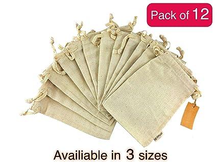 fc1cc03aec2 12 Pcs Organic Cotton Reusable Produce Bags | Biodegradable Eco-Friendly  Bulk Bin Bags for Food | Small 5x7 | Sachet Bags - Fruit Vegetable Storage  ...