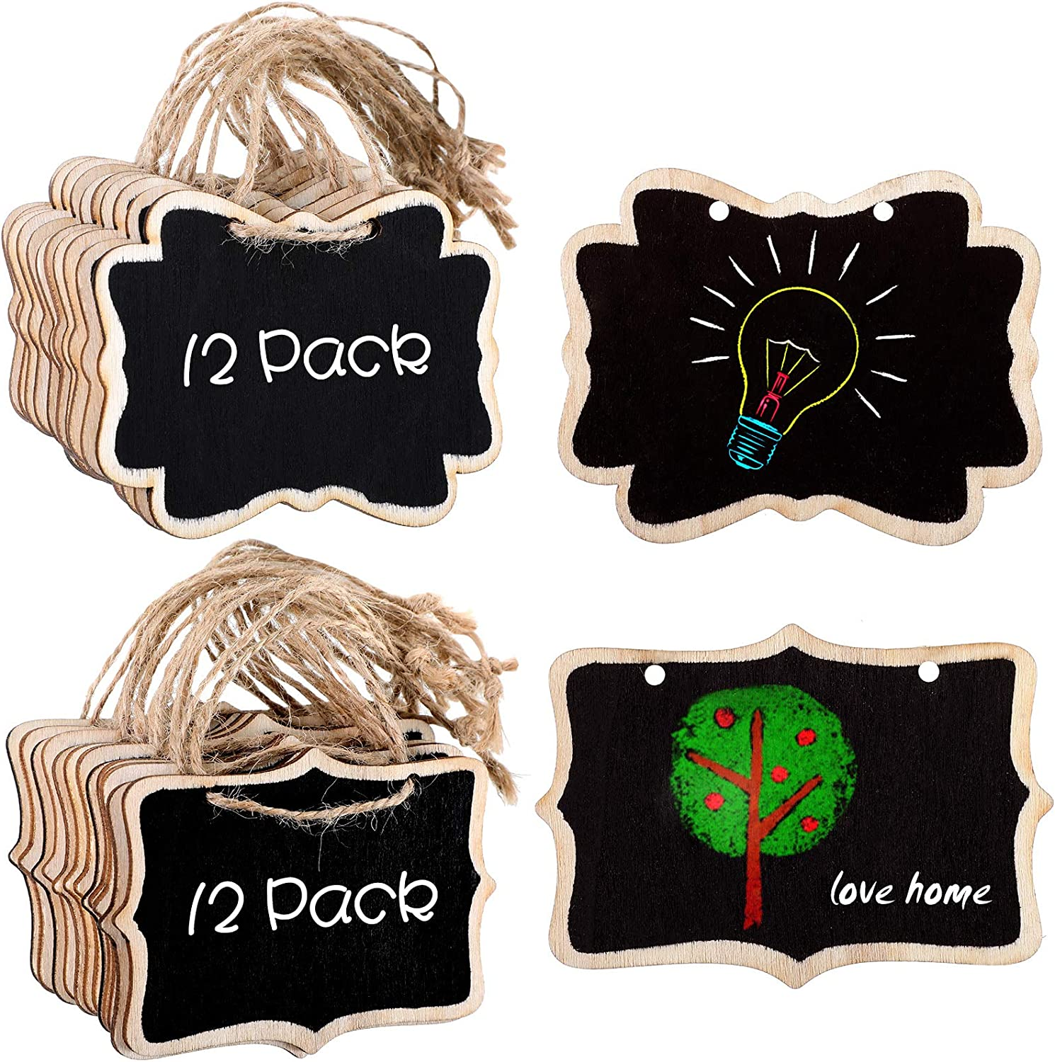 24 Pieces Mini Chalkboards Signs Rectangle and Cloud Shaped Chalkboard Tags Wooden Message Board Signs Small Blackboard with Hanging Rope for Food Labels Wedding Party Decorations