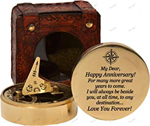 De Cube Personalized for Men/Women- Sundial Compass with Free Text Engraving on Demand - Romantic Gift Ideas for Him/Her - Husband Gifts from Wife