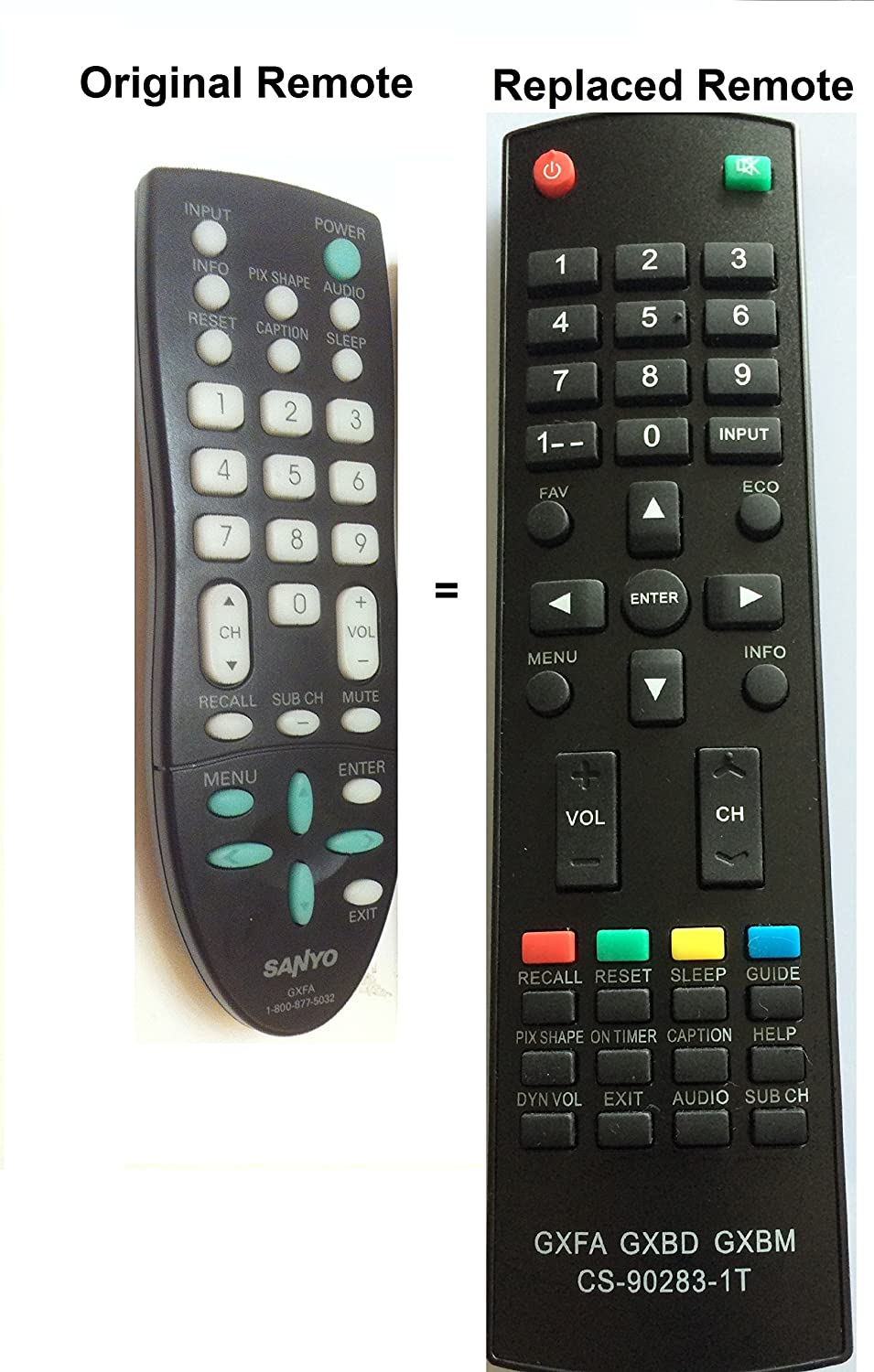 New Replaced Sanyo GXFA Replaced Remote for GXCC DP19648, DP26649, DP19649, DP32642, DP46812