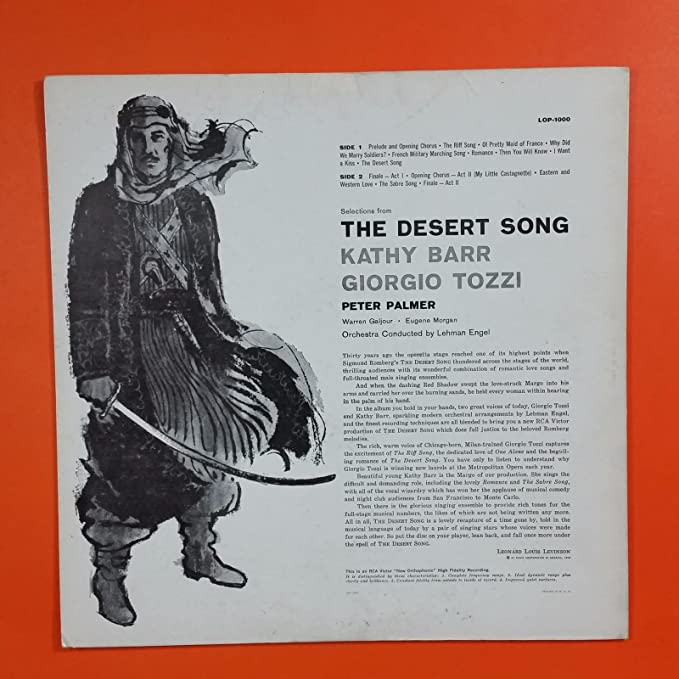 - DESERT SONG Giorgio Tozzi LOP 1000 LP Vinyl VG Cover VG++ - Amazon.com Music