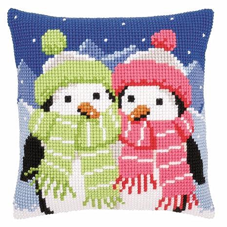 Pingüinos y bufandas de punto de cruz 40 x 40 cm Cojín Kit ...