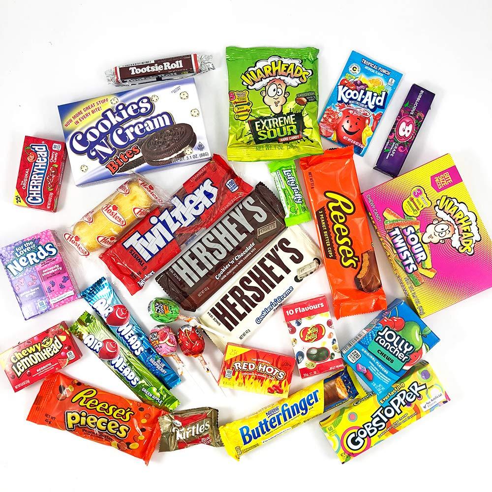 Gran cesta con American Candy   Caja de caramelos y Chucherias Americanas   Reeses Hersheys Reeses Jelly Belly Twinkie   Golosinas para Navidad Reyes o para ...