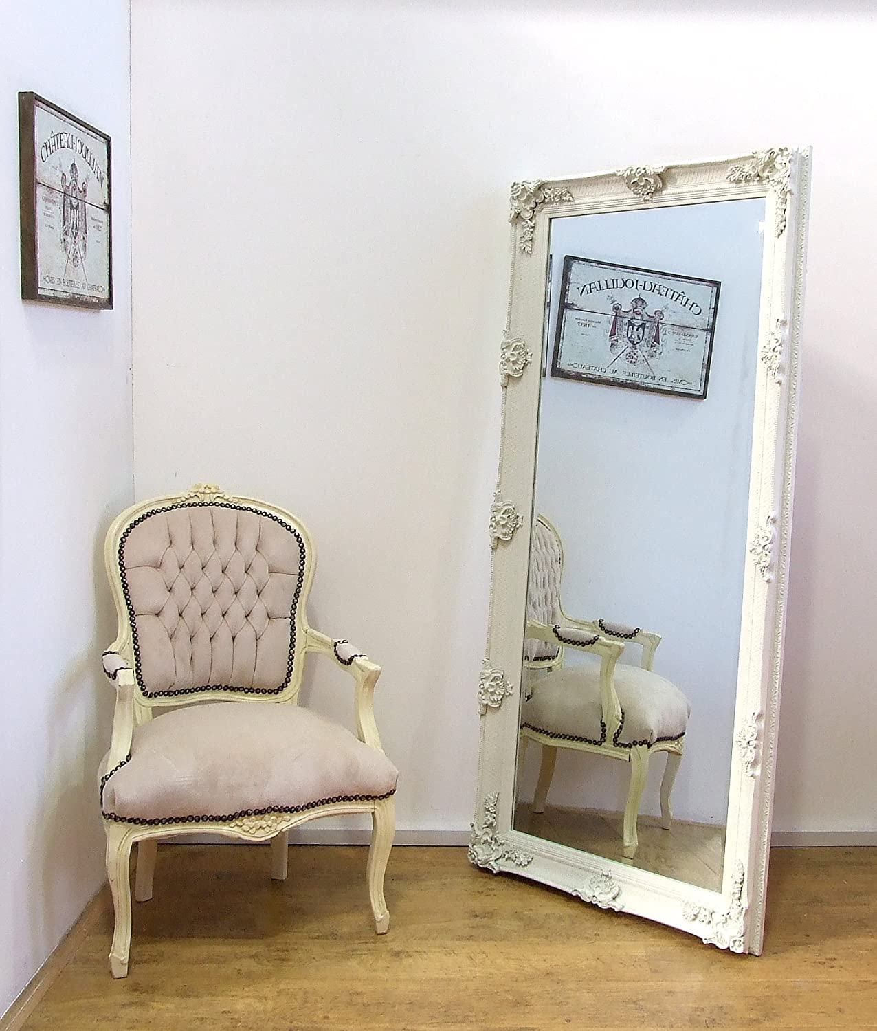 Beautiful large ornate cream ivory wall mirror 6ft x 3ft gl42 large cream vintage antique style shabby chic leaner wall mirror amipublicfo Image collections