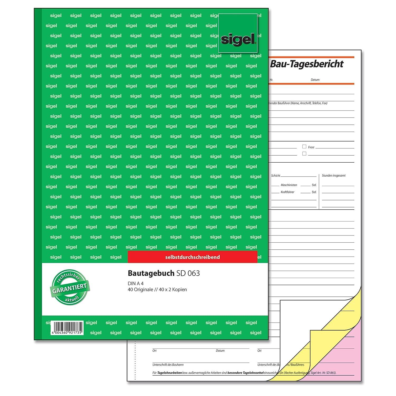 Sigel SD063/5 Bautagebuch A4, 3x40 Blatt, selbstdurchschreibend, 5 Stück 5 Stück Sigel GmbH