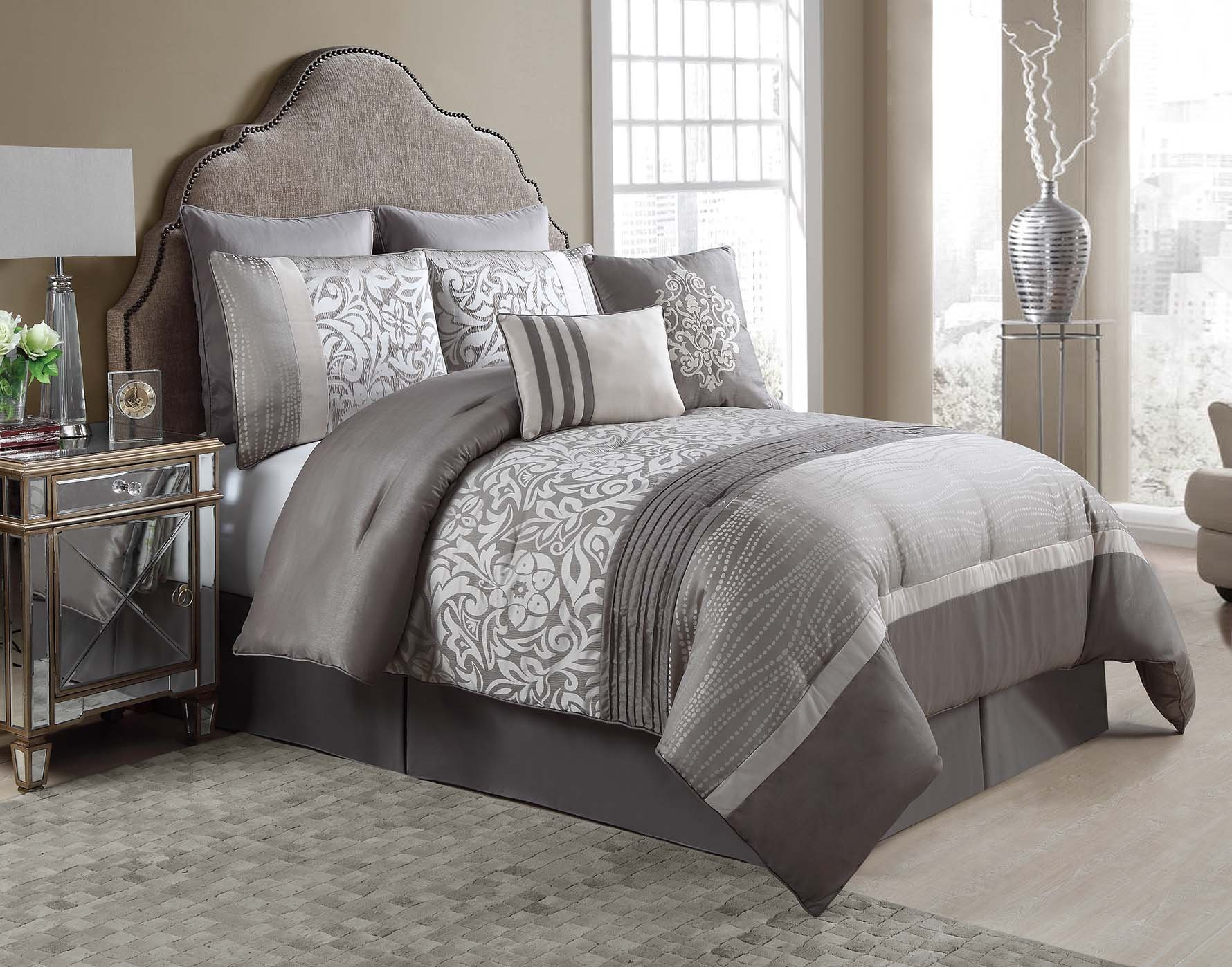Queen Size Complete BED-IN-A-BAG in Taupe Luxurious 8 Pc Set w/ Decorative Pillows by VCNY Home