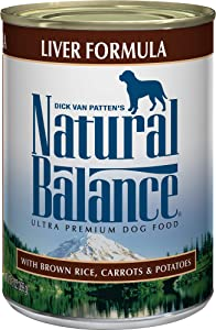 Natural Balance Ultra Premium Wet Dog Food, Liver Formula with Brown Rice, Carrots & Potatoes, 13 Ounce Can (Pack of 12)