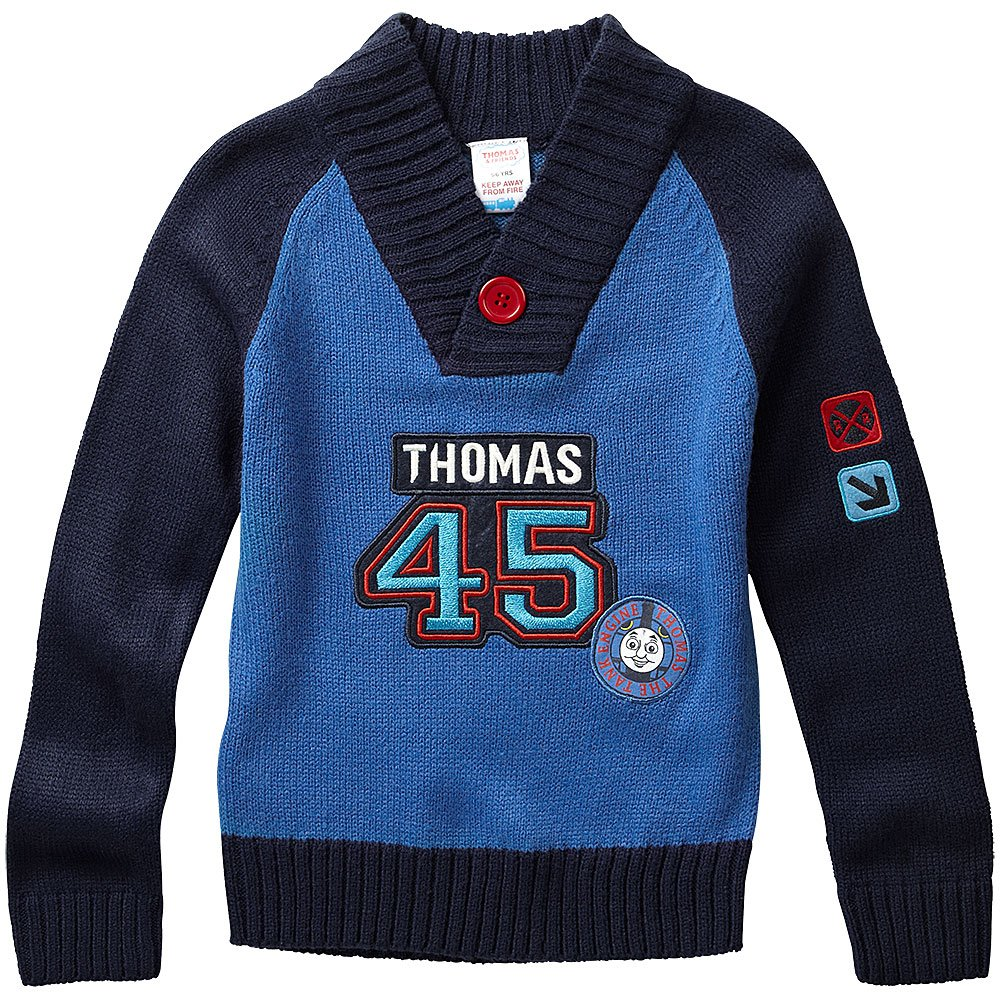 Thomas and Friends Boys Long Sleeve Shawl Collar Knitted Jumper