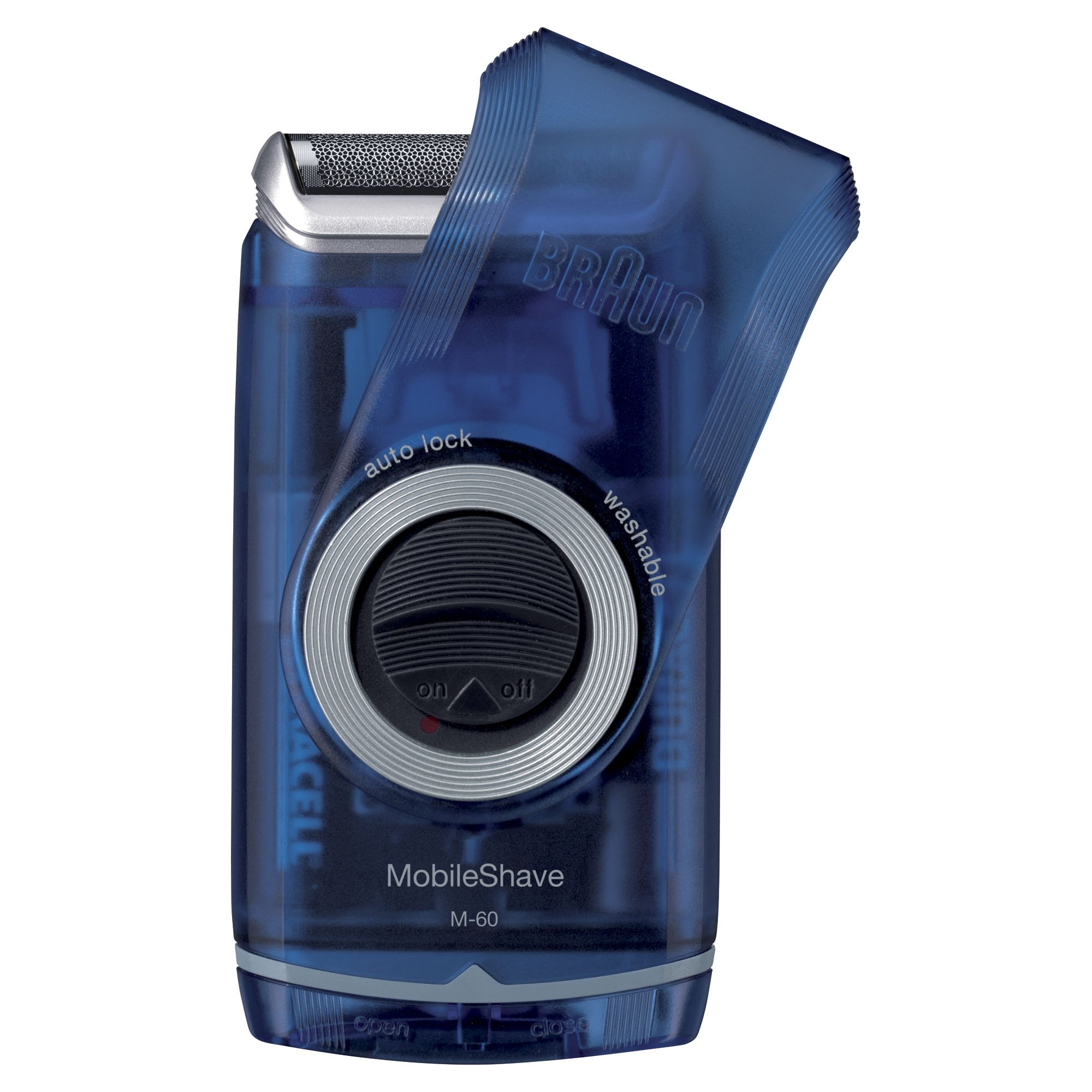 Braun Pocket Mobile Electric Foil Shaver for Men, Washable, Transparent Blue