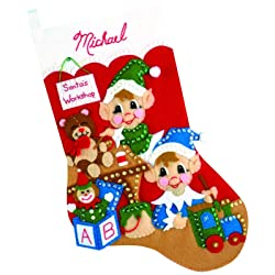 Design Works Felt Applique Christmas Stocking Kit: Elves