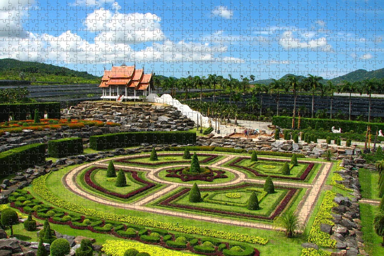 Thailand Nong Nooch Tropical Botanical Garden Pattaya Jigsaw Puzzle for Adults 1000 Piece Wooden Travel Gift Souvenir