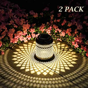 2 Pack Solar Lanterns Outdoor Hanging Solar Lights Decorative, Solar Outdoor Decorations for Patio Garden Yard Porch and Tabletop with Shadow Casting.