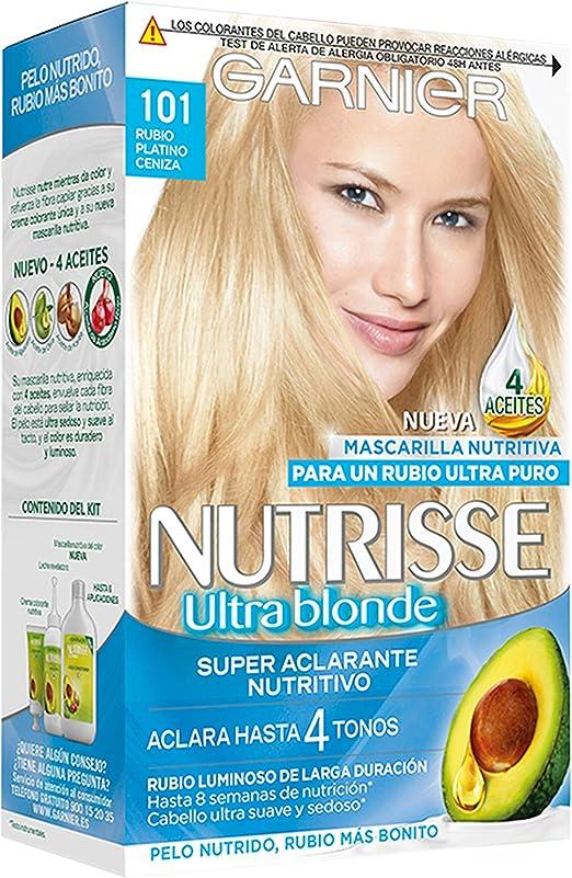 Garnier Nutrisse Creme Coloración Nutritiva Permanente, Tinte 100% Cobertura de Canas con Mascarilla Nutritiva de 4 Aceites - Tono 101 Rubio Platino ...