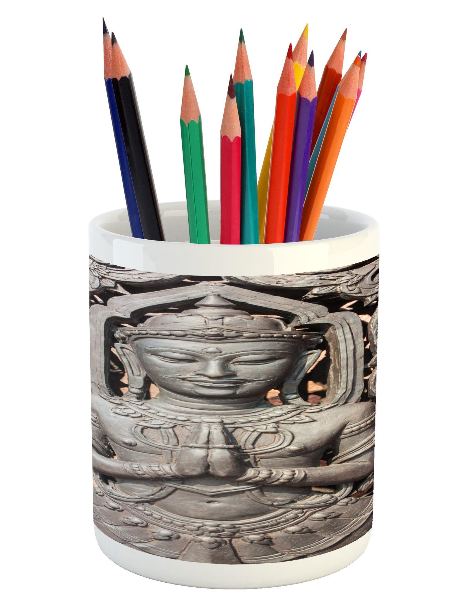 Lunarable Asian Pencil Pen Holder, Antique Style Sculpture Traditional Thai Art Swirling Floral Patterns Japanese Elements, Printed Ceramic Pencil Pen Holder for Desk Office Accessory, Bronze