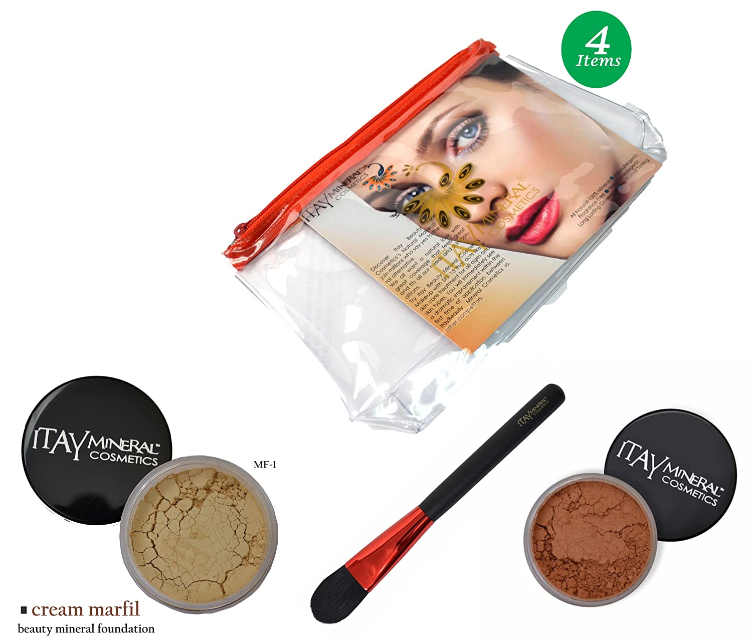 (Bundle of 4 Items) Itay Mineral Cosmetics Full Size Flawless Foundation MF1 Cream Marfil+Blush+Foundation Brush+Airplane Travel Cosmetic Bag (MB1 Harvest Eye) 81coD-SLzKL