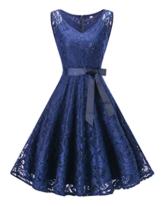 Dressylady Womens V Neck Floral Lace Bridesmaid Dress Short Prom Party Gowns Sleeveless