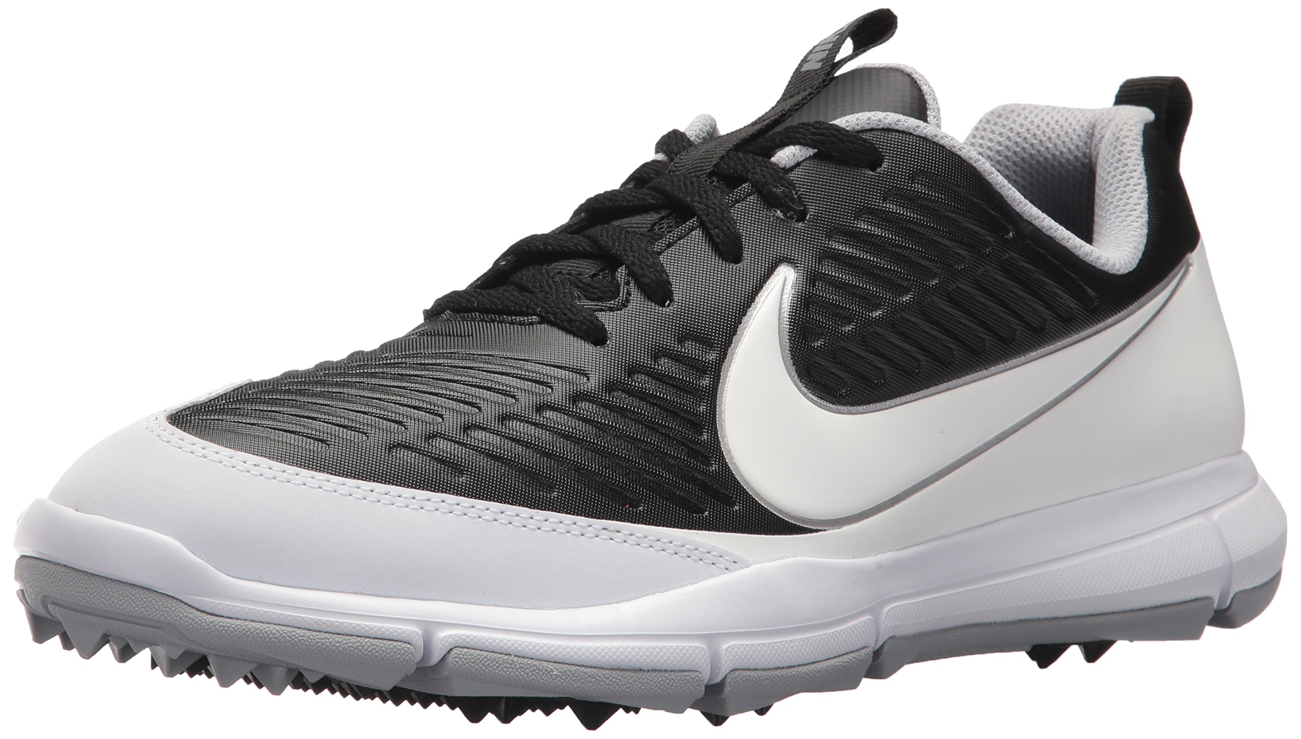 NIKE Men's Explorer 2 Golf Shoe, Black/White/Metallic Silver/Wolf Grey, 7.5 Wide US