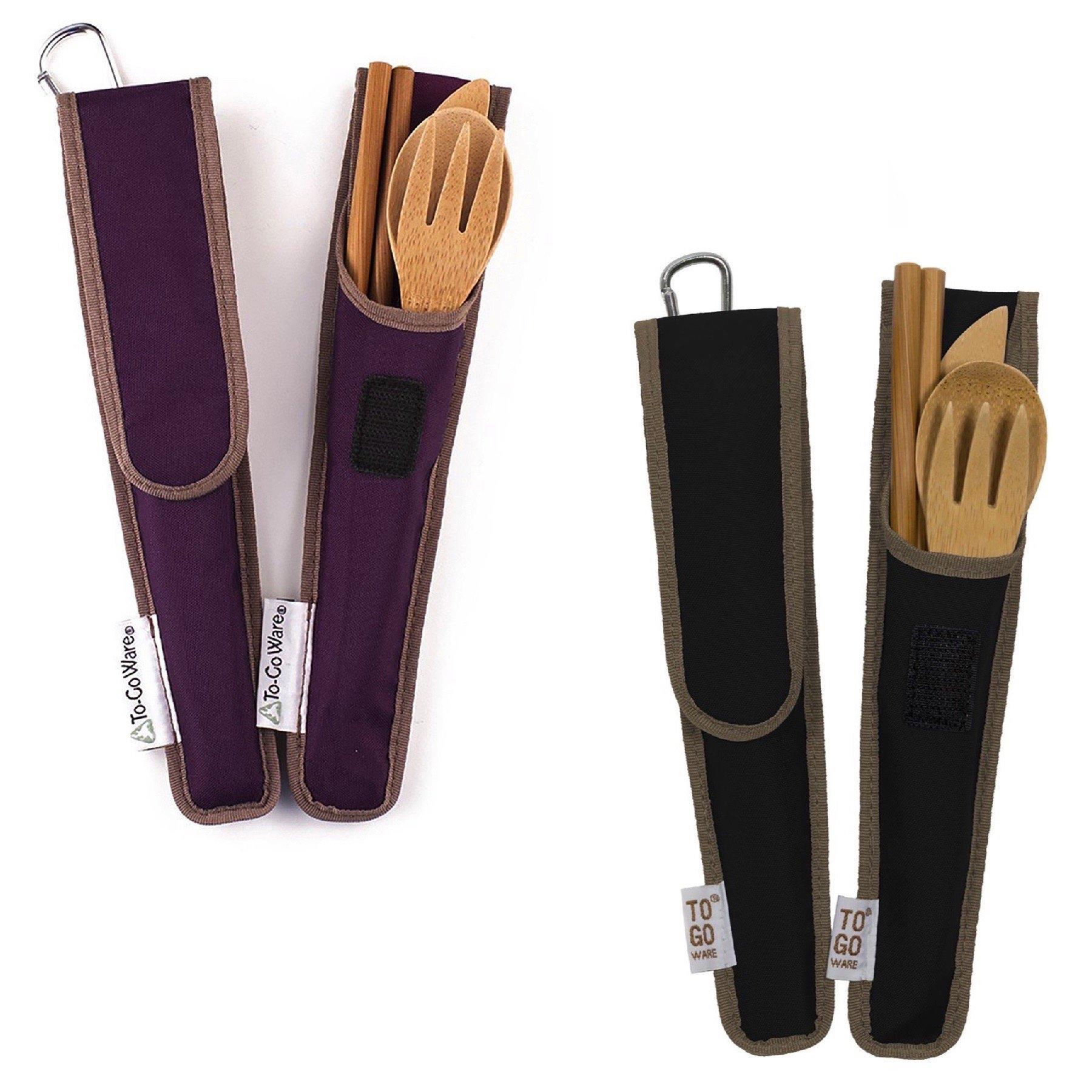 ChicoBag ToGoWare RePEaT Bamboo Utensil Set Hijiki Black+ Mulberry Purple Travel