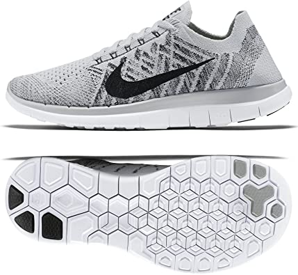 Nike Free 4 0 Flyknit 717076 005 Pure Platinum Black White Women S Running Shoes Size 6 Amazon Ca Shoes Handbags