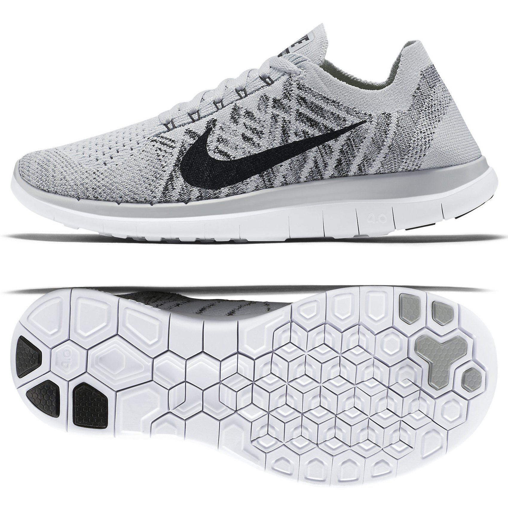 reputable site 30b99 e0385 Galleon - Nike Free 4.0 Flyknit 717076-005 Pure Platinum Black White  Women s Running Shoes (Size 8)