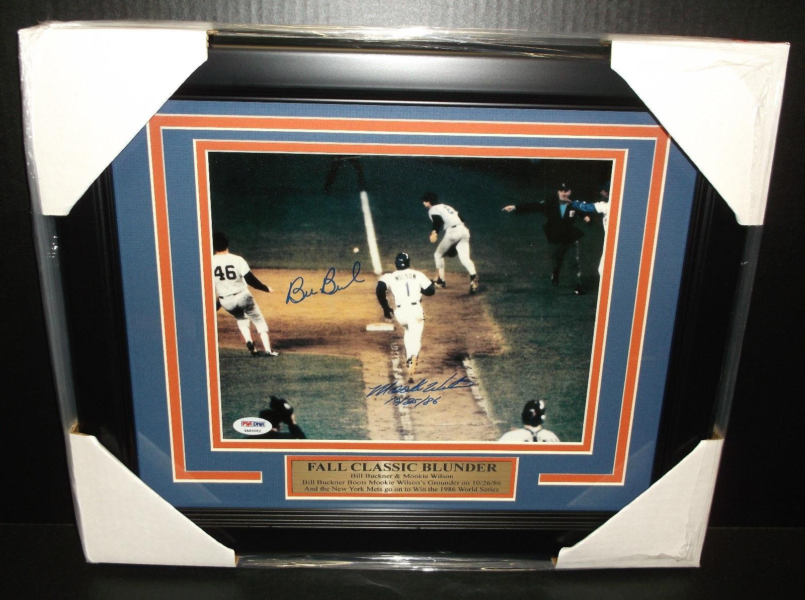 Mookie Wilson Bill Buckner Autographed 8x10 Photo 1986 World Series Framed PSA/DNA Certified Autographed MLB Photos