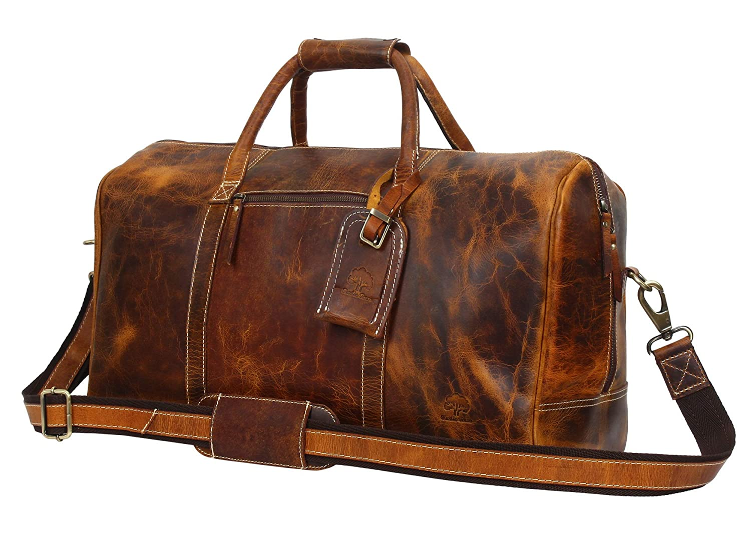 31e333631064 Amazon.com  Leather Travel Duffel Bag - Airplane Underseat Carry On Bags By  Rustic Town (Brown)  Clothing